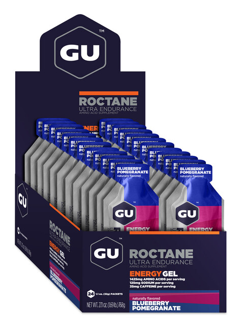 GU Energy Roctane Energy Gel - Nutrición deportiva - Blueberry Pomegranate 24 x 32g